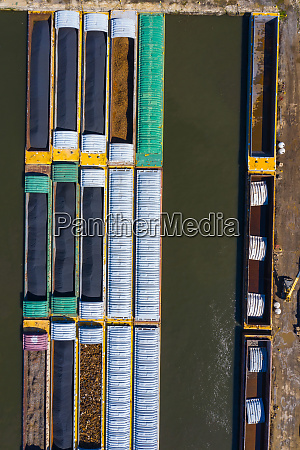 aerial view of freight barges at