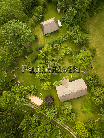 aerial view of traditional houses in