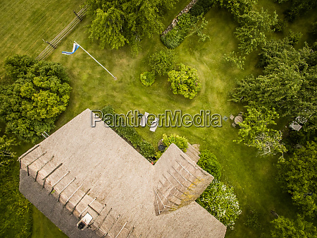aerial view of a traditional house