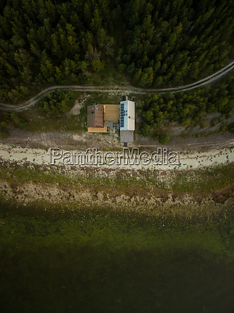 aerial view of two houses on