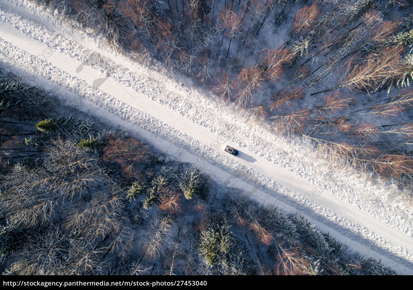 aerial, view, of, a, car, driving - 27453040