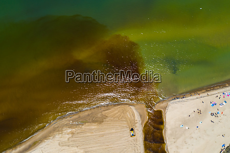 aerial view of lake michigan beach