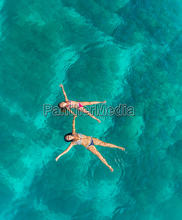 aerial view of woman and young