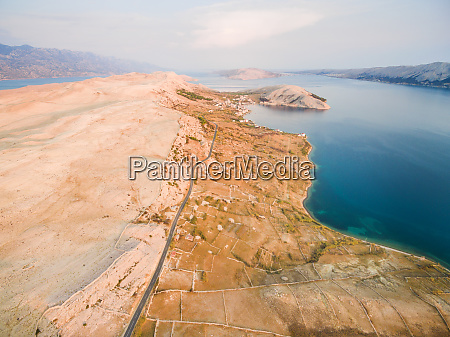 aerial view of island of pag