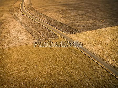 aerial view of empty farmland in