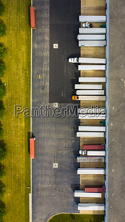 aerial view of parked semi truck