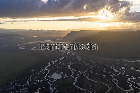 aerial view of kirkjubaejarklaustur rivers