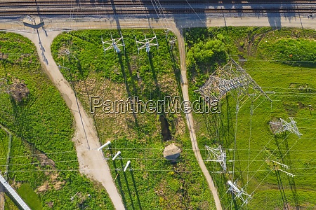 aerial view of high voltage electricity