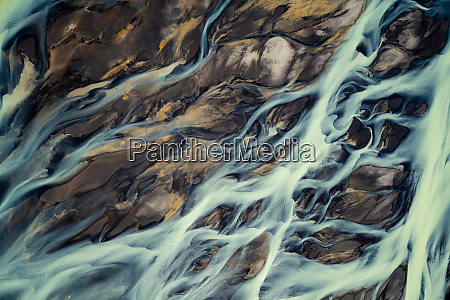 aerial view of a volcanic river