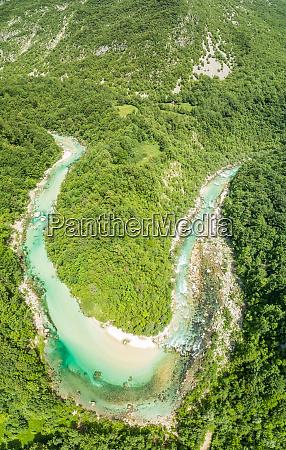 aerial view of soca river bend