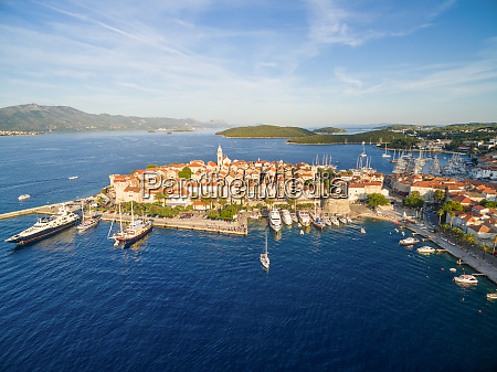 aerial view of the korcula island