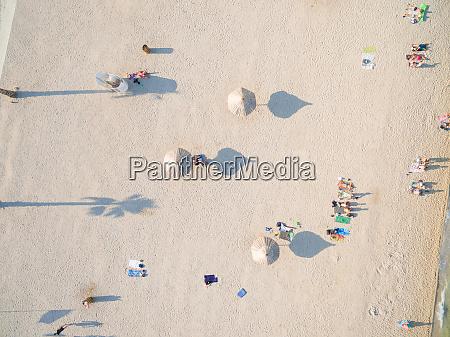 aerialof tourists at popular zrce beach