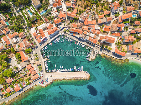 aerial view of small harbour in