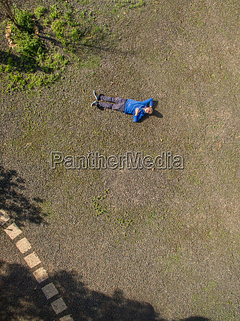 aerial view of a man taking