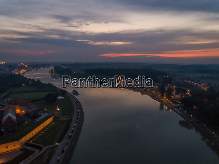 aerial view of drava river in