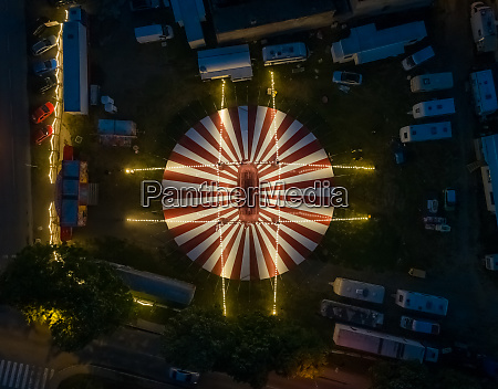 aerial view of circus tent with