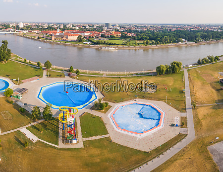 aerial view of slide and pool