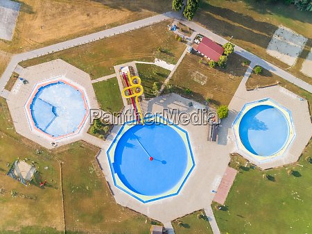 abstract aerial view of three pools