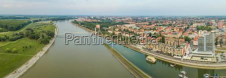 panoramic aerial view of osijek and