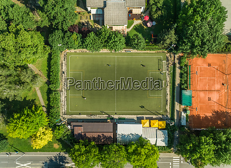 aerial view of a football training