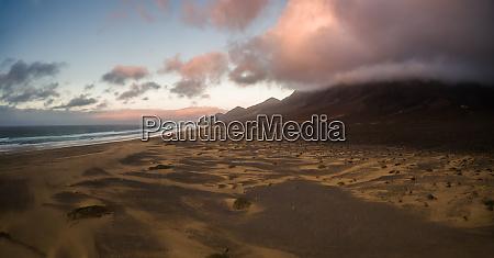 aerial panoramic view of cofete beach