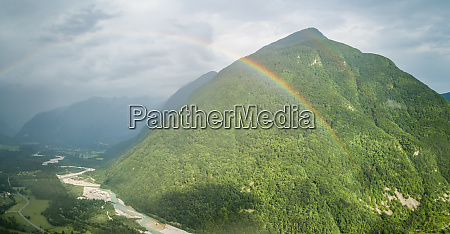 aerial view of rainbow over the