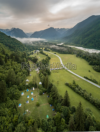 aerial view of soca river valley