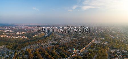 aerial panoramic view of mirogoj cemetery
