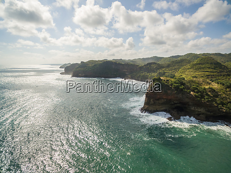 aerial view of rock formation coastal