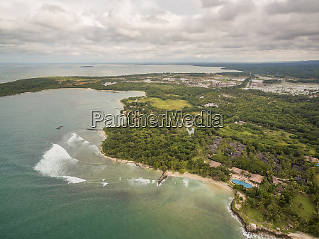 aerial view of tropical island with