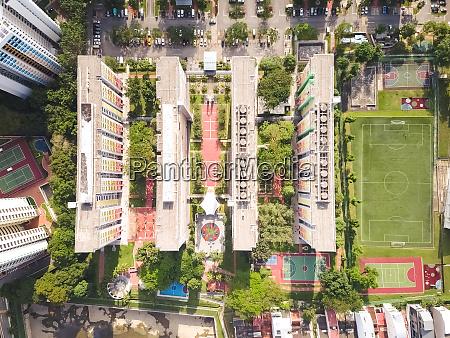 aerial view of residential buildings in