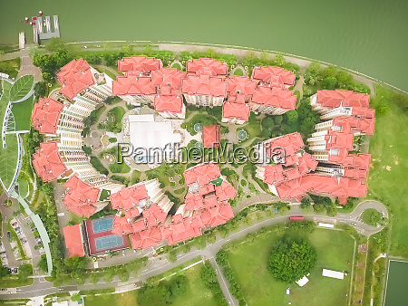aerial view of residential buildings close