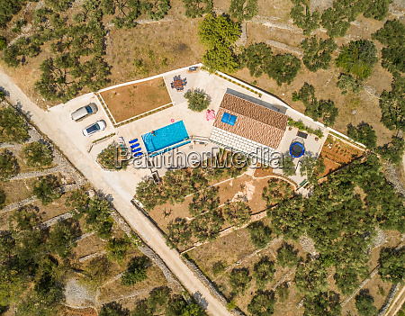 aerial view of villa with swimming