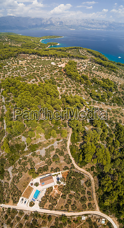 aerial panoramic view of brac island