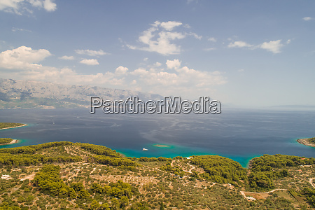aerial view of adriatic sea mountains