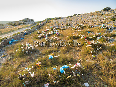 plastic bags pollution on island of
