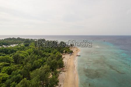 aerial view of transparent coastal line