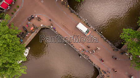 aerial view of people cycling in