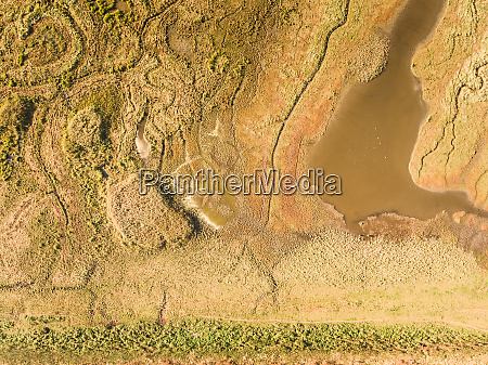 abstract aerial view of wetlands landscape
