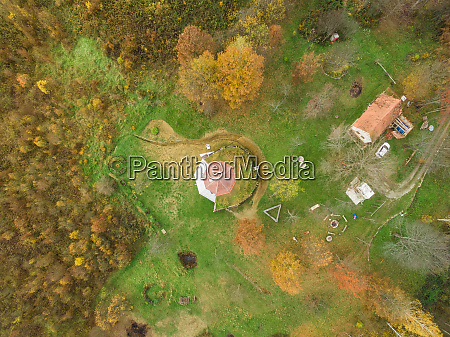 aerial view of house with living