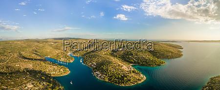 aerial panoramic view of coastline near