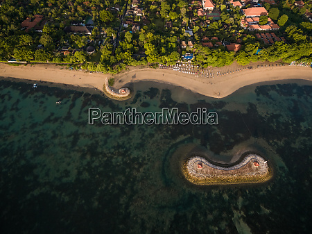 aerial view of beachfront residential area