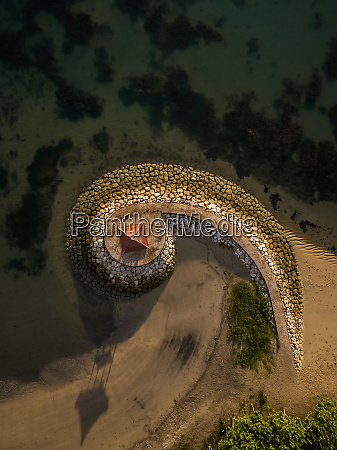 aerial abstract view of pagoda and