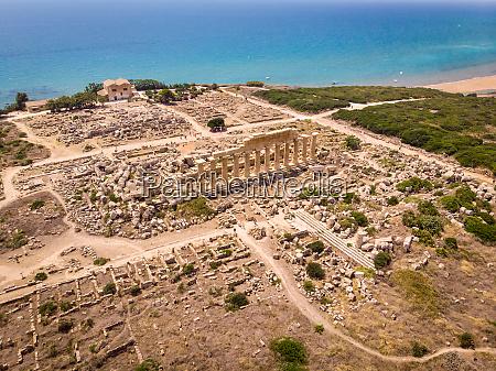 aerial view of greek ruins by