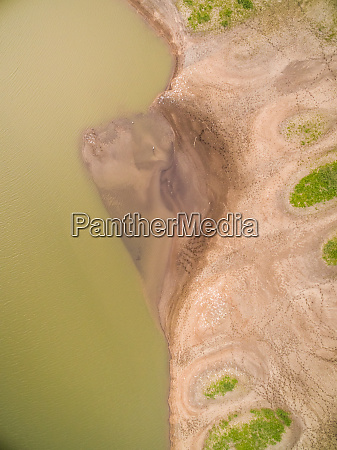 aerial view of abstract sandy shore