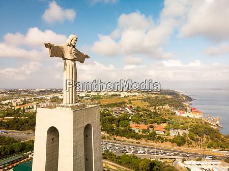 aerial view of cristo rei statue