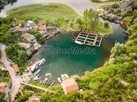 an aerial view of fishing village