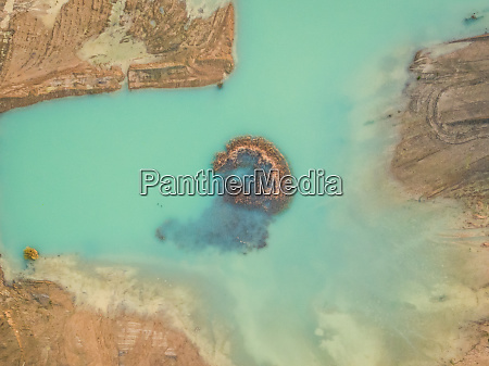 aerial view of artificial water reservoir