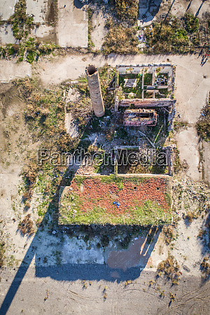 aerial view of an industrial ruin