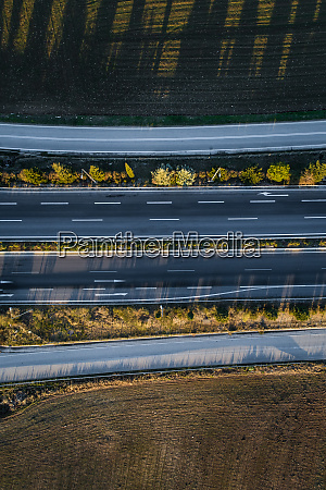 aerial view of four roads
